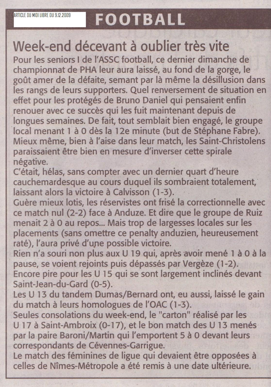 Article du 9.12.2009