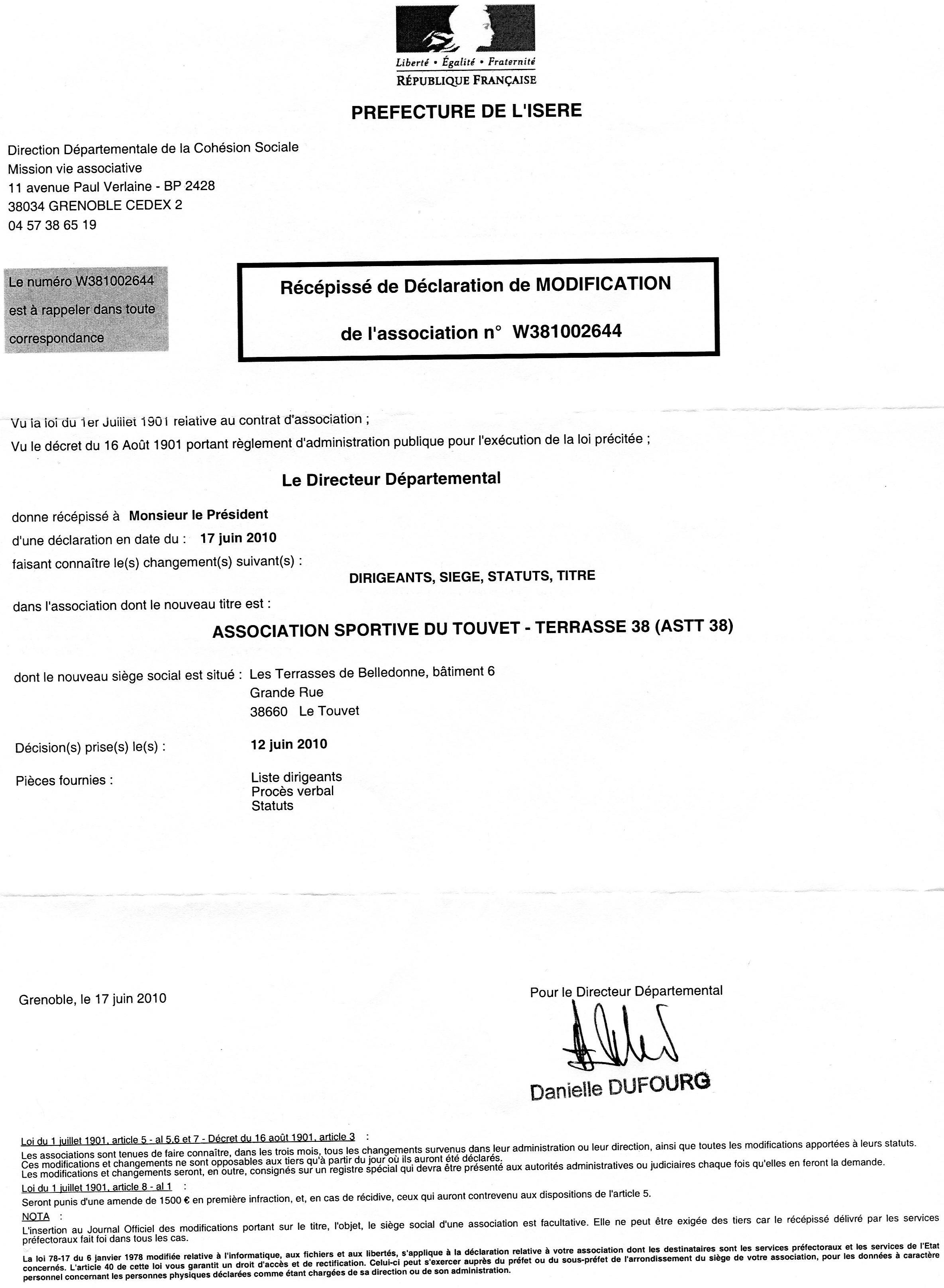 Statuts et r glement club football a s touvet la - Declaration bureau association prefecture ...