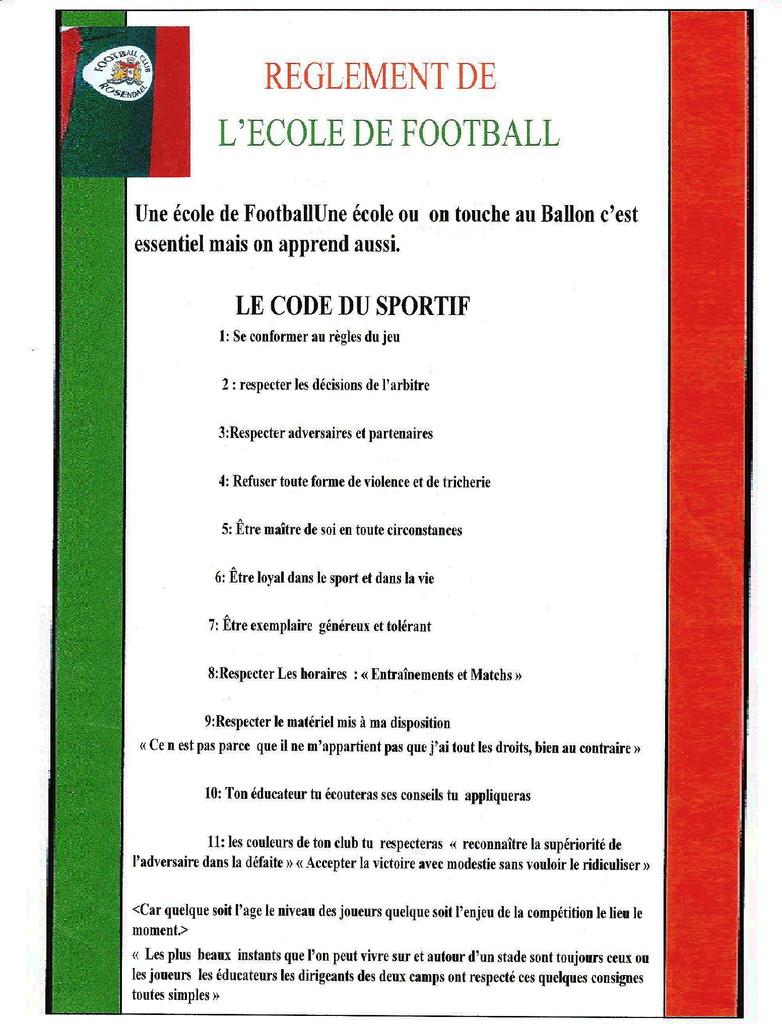 REGEMENT DE L'ECOLE DE FOOTBALL