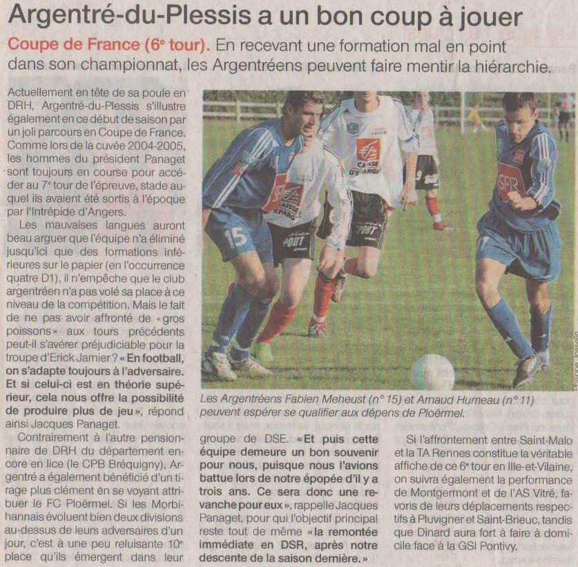 OUEST FRANCE club Football JEUNES D'ARGENTRE FOOTBALL