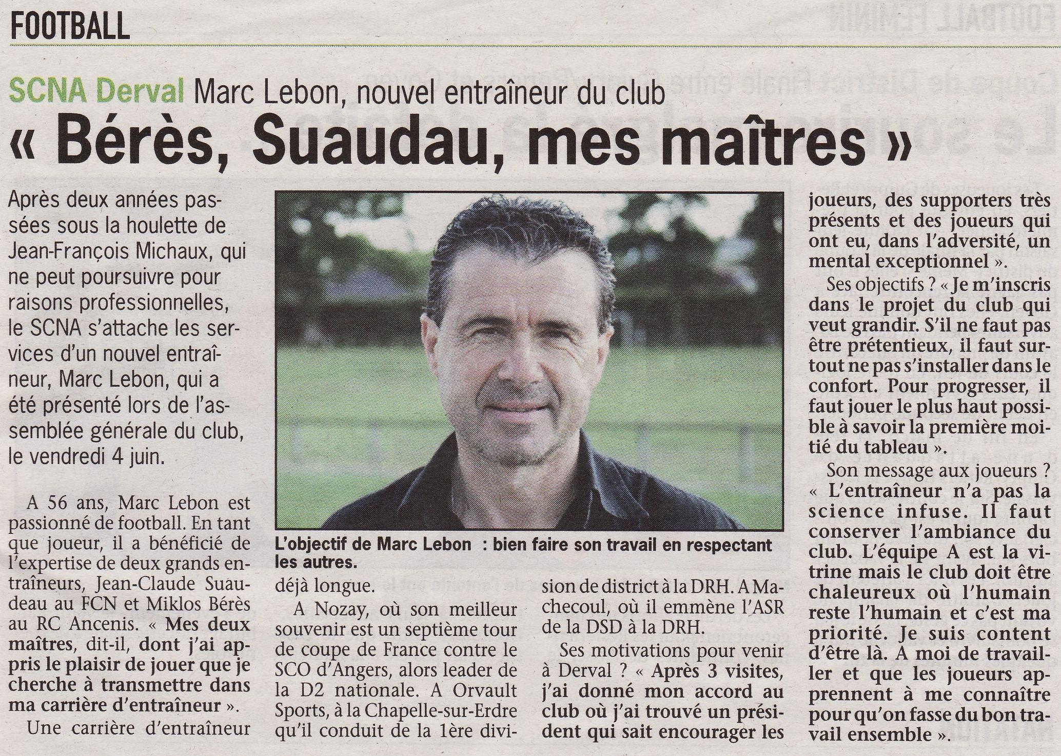 Marc Le Bon - Nouvel entraineur du SCNA